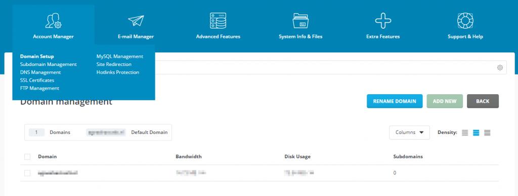 Directadmin domein setup