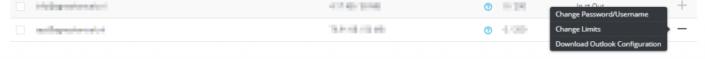 Directadmin e-mailadres wachtwoord resetten menu