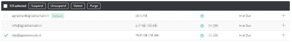 E-mailadres verwijderen menu