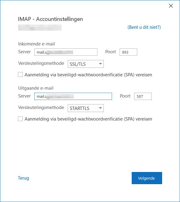 Outlook account toevoegen stap 2